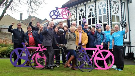 Stowmarket celebrates hosting the finish for this year's opening stage of the Women's Tour. From lef