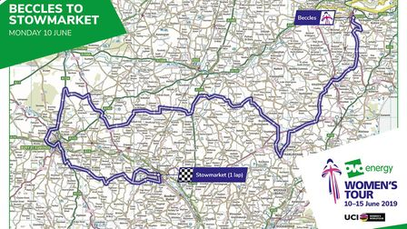 Women's Tour route across Suffolk Picture: SWEETSPOT