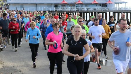 Runners get into their stride at the start of the Felixstowe parkrun on Saturday. Picture: IAN RAFFE