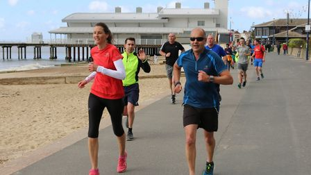 Runners taking on the flat 5K course at the 56th Felixstowe parkrun on Saturday morning. Picture: IA