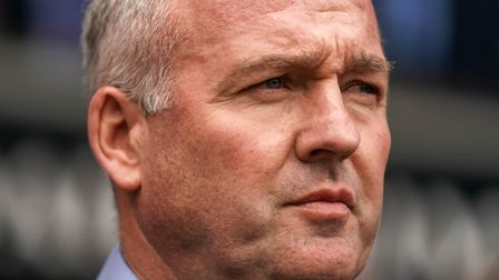Town manager Paul Lambert washes on during the Ipswich Town v Leeds United match. Picture: STEVE