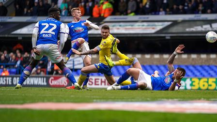 Flynn Downes fires Town into an early lead in the Ipswich Town v Leeds United match. Picture: STE