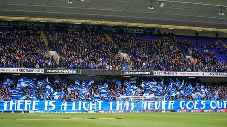 A show of support from Town fans ahead of the Ipswich Town v Leeds United game. Picture: STEVE WA