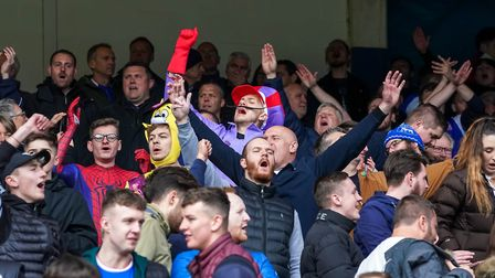 Town fans singing late in the Ipswich Town v Leeds United game. Picture: STEVE WALLER WWW.STE