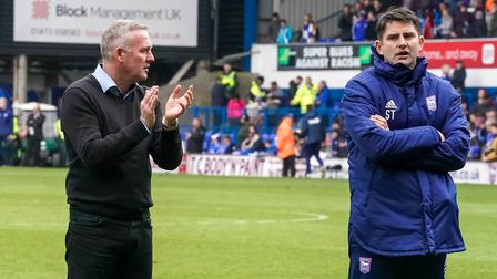 Ipswich Town manager Paul Lambert and his assistant Stuart Taylor soak up the atmosphere on the pitc