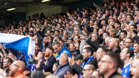 Town fans singing late in the Ipswich Town v Leeds United match. Picture: STEVE WALLER WWW.ST