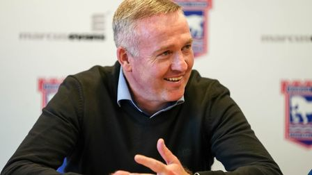 Town manager Paul Lambert pictures during his post match press conference following his sides 3-2 vi