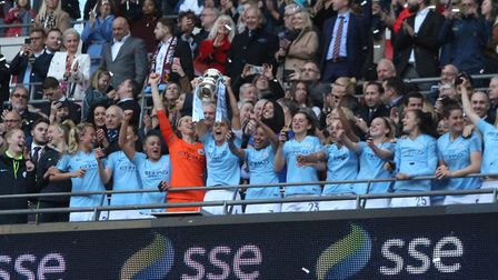 Man City celebrate winning the 2019 FA Women's Cup final at Wembley Picture: ROSS HALLS