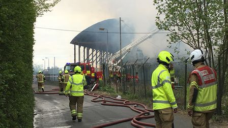 Fire crews tackle the fire at the former Fisons site in Bramford Picture: Suzanne Day