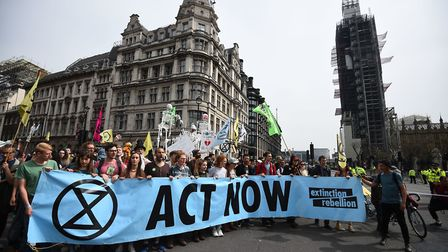 Protesters call for action at a climate change protest in London Picture: KIRSTY O'CONNOR/PA WIRE