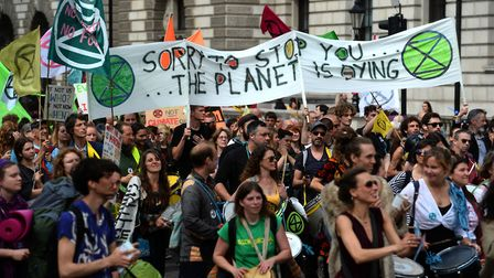 Extinction Rebellion protesters reach Parliament Square in Westminster Picture: KIRSTY O'CONNOR/PA