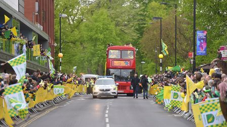 Daniel Farke had hoped to lead Norwich City in a yellow open-top bus, but instead used a red tourist