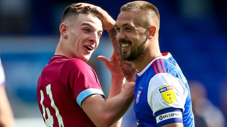 Luke Chambers has a laugh with Declan Rice during Ipswich Town's friendly game against West Ham last