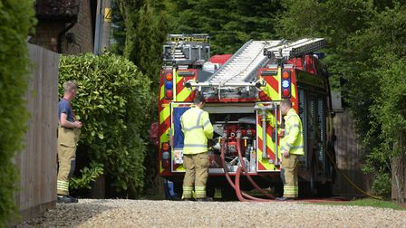 Emergency services attend the scene of a house explosion in Lidgate Picture: SARAH LUCY BROWN