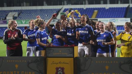 Ipswich Town Women celebrate their fifth successive Suffolk FA Women�s Cup at Portman Road this week