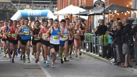 Flashback: the start of last year's Twilight 5K elite race, at Ipswich Waterfront. Picture: SARAH L