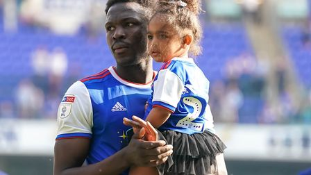 Toto Nsiala on the lap of appreciation which followed Ipswich Town's 1-0 home defeat to Swansea. Pho