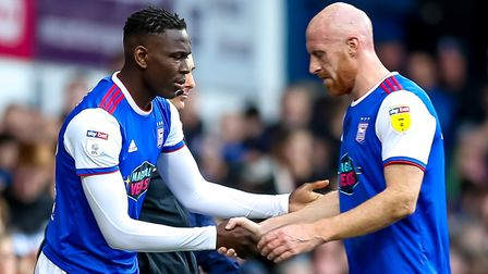 Toto Nsiala replaces an injured James Collins. Photo: Steve Waller