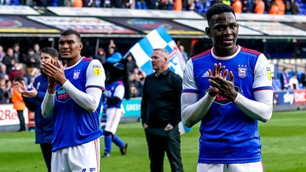 Collin Quaner and Toto Nsiala applauding the Ipswich Town fans. Photo: Steve Waller