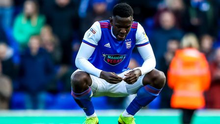 Toto Nsiala pictured after a home defeat to Birmingham City confirmed the club's relegation to Leagu