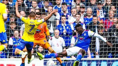 Man-of-the-match Toto Nsiala denies Kemar Roofe in Sunday's 3-2 hoem win against Leeds United. Photo