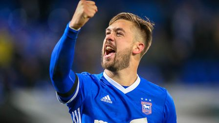 Chambers' celebration has become iconic at Portman Road. Picture: STEVE WALLER WWW.STEPHENWAL