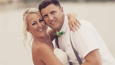 Bianca and Owen on their wedding day. Bianca will be taking part in Race for Life on her 32nd birthd