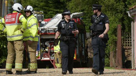 Emergency services attend the scene of a bungalow explosion in Lidgate Picture: SARAH LUCY BROWN