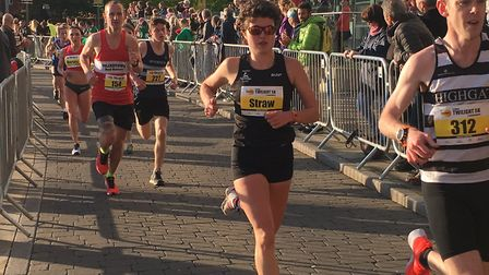 Felixstowe Road Runners' Tony Gavin (No. 154) in action behind elite lady Becky Straw and Brendan Do