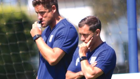 Ipswich Town boss Paul Hurst with his assisant Chris Doig Picture: ROSS HALLS