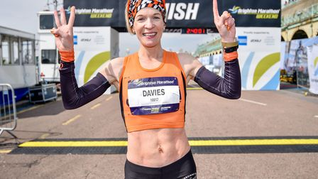 Helen Davies, celebrating victory at the Brighton Marathon. She has been selected to run for Great B