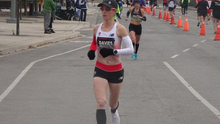 Helen Davies, in action representing England at the Toronto Waterfront Marathon. She is set to run f