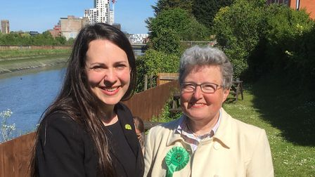 Green Party deputy leader Amelia Womack with lead candidate for the European Election in the East of