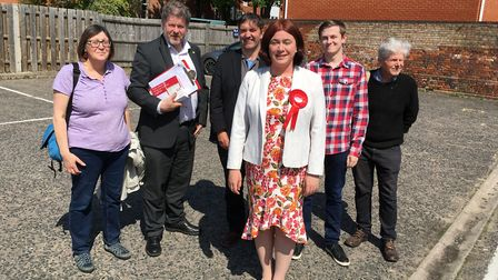 Labour's defending MEP Alex Mayer was supported by party members while campaigning in Ipswich. Pictu