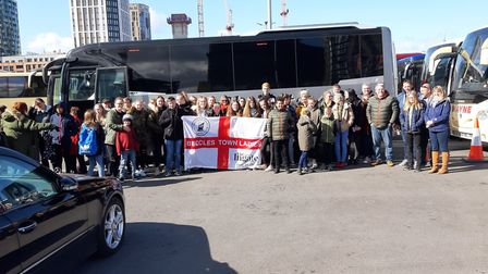 Beccles Town FC Ladies took 80 people down to Wembley picture: ALAN RUNNACLES