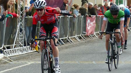 Sean Purser wins the Senior Men's race from Dougal Toms at Ixworth. Picture: FERGUS MUIR