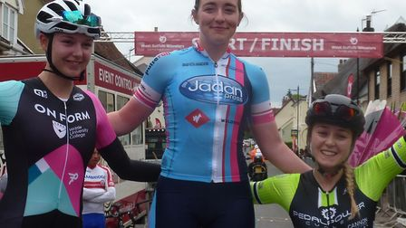 The women's podium at Ixwort: L-R Holly Hoy, Sophie Lankford, Gemma Melton. Picture: FERGUS MUIR