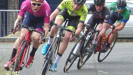 William Smith (Verulam CC) leads Charlie Johnson (Fast Test) in the U16s at Ixworth. Picture: FERGUS