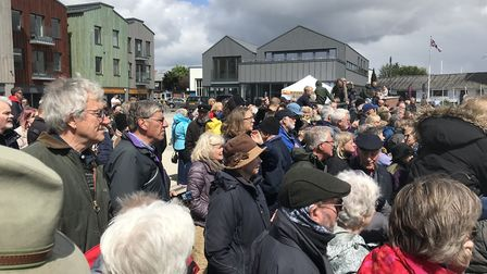 Hundreds gathered in Whisstocks, Woodbridge to celebrate the launch of first boats to be built there