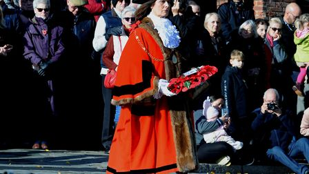 Mrs Marks lays a wreath at the Bury St Edmunds Remembrance Service in 2018 Picture: ANDY ABBOTT