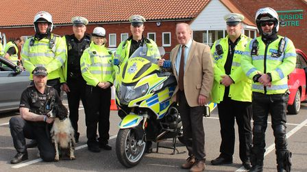 Suffolk PCC Tim Passmore and Sgt Julian Ditcham (centre), with Roads and Armed Policing (RAPT) offic