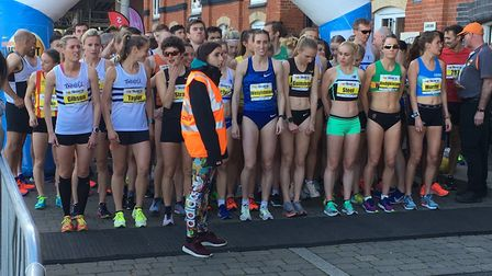 The elite ladies and sub 20-minute men congregate for the start of their race. Picture: CARL MARSTON