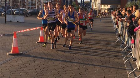 The chasing pack in the elite men's race, the last event of the day, on the Ipswich Waterfront. Pict
