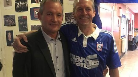 George Burley with Daniel Maddison, who won a signed ball, at Gainsborough Labour Club Picture: GA