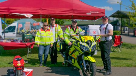 The SERV SC volunteers and one of their bloodbikes Picture: MIKE SKINNER