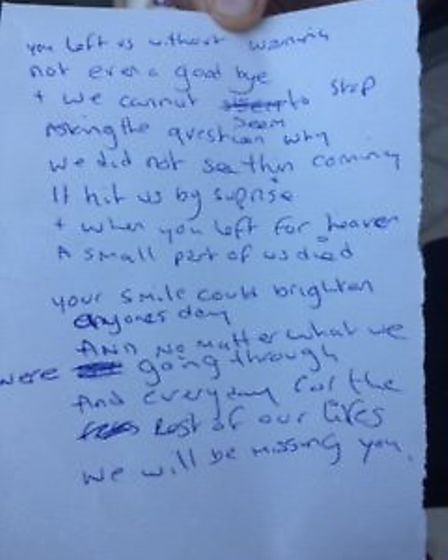 A poem written by the family of Izzy Cottrell and read outside court following the sentencing of her