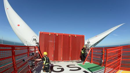 Technicians working at the Galloper wind farm on the North Sea. Picture: ALAN O'NEILL