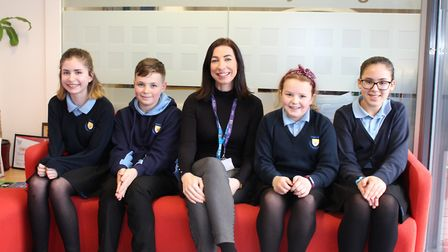 Dr Beth Mosley with students at Thurston Community College Picture: WSCCG