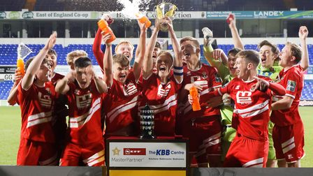 AFC Sudbury A celebrate their Suffolk Primary Cup victory. Picture: SUFFOLK FA