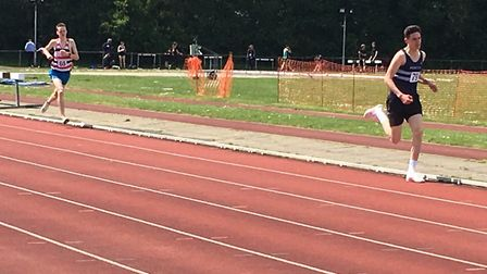 Under-20 athlete Jack Grady on his way to victory over 1,500m, withTom Henson in pursuit. Henson was